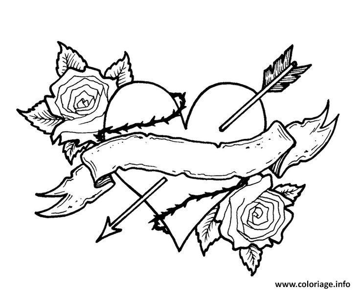 Coloriage Coeur Fleur Rose Fleche Vintage Dessin