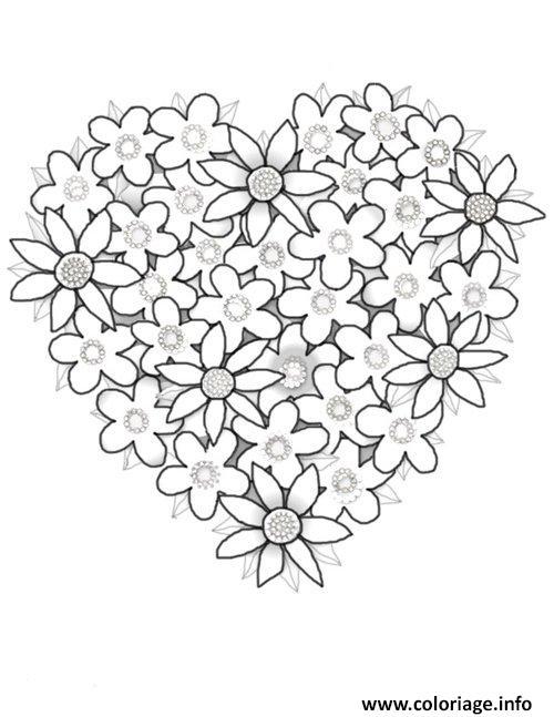 Coloriage fleurs en forme de coeur dessin - Dessin en forme de coeur ...