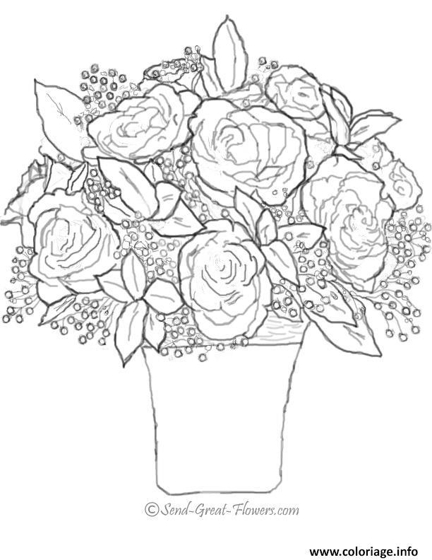 Coloriage Bouquet De Rose St Valentin Jecolorie Com