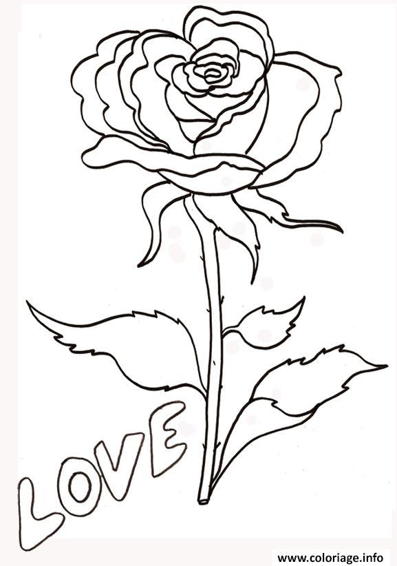 Coloriage rose et coeur 113 dessin - Dessin de rose ...