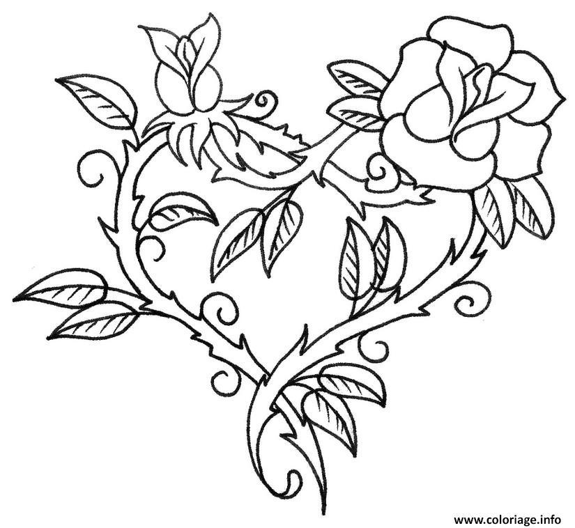 Coloriage rose en forme de coeur dessin - Coeur en dessin ...