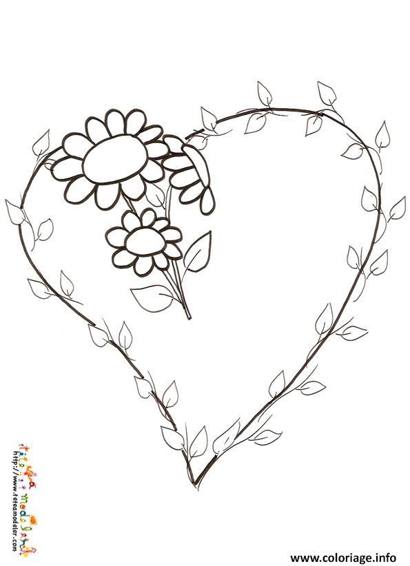 Coloriage rose et coeur 57 dessin - Coloriage avec des coeurs ...