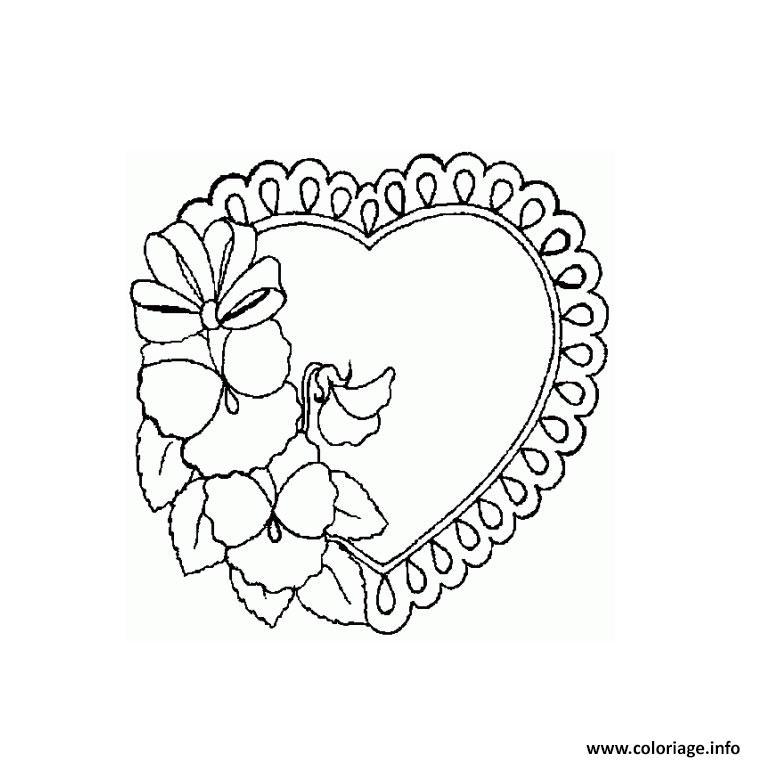 Coloriage Coeur Vintage Fleurs dessin