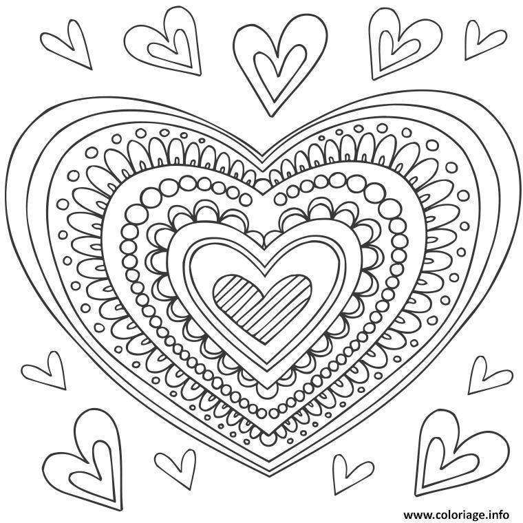 Coloriage mandala coeur dessin - Coeur coloriage ...