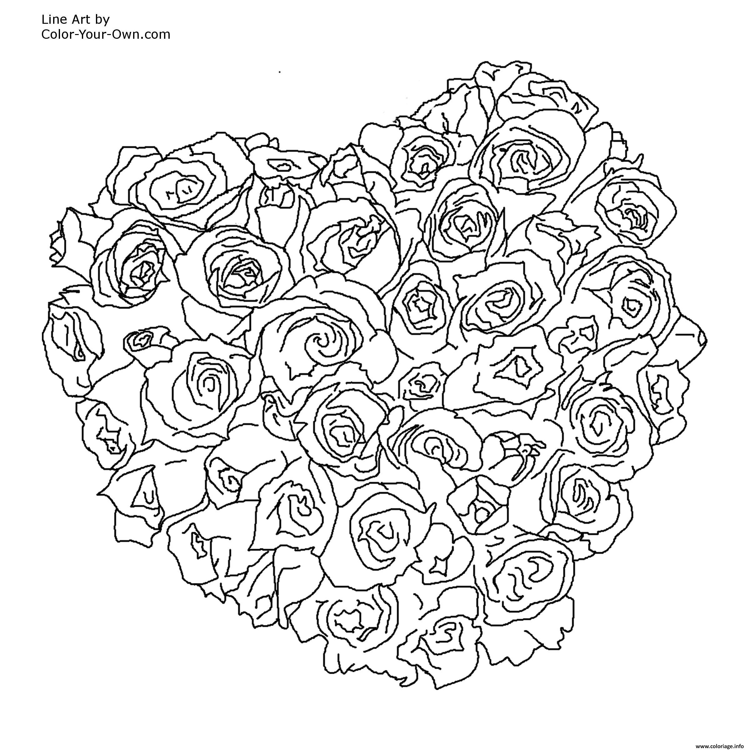 Coloriage mandala rose coeur dessin for Coloring pages roses