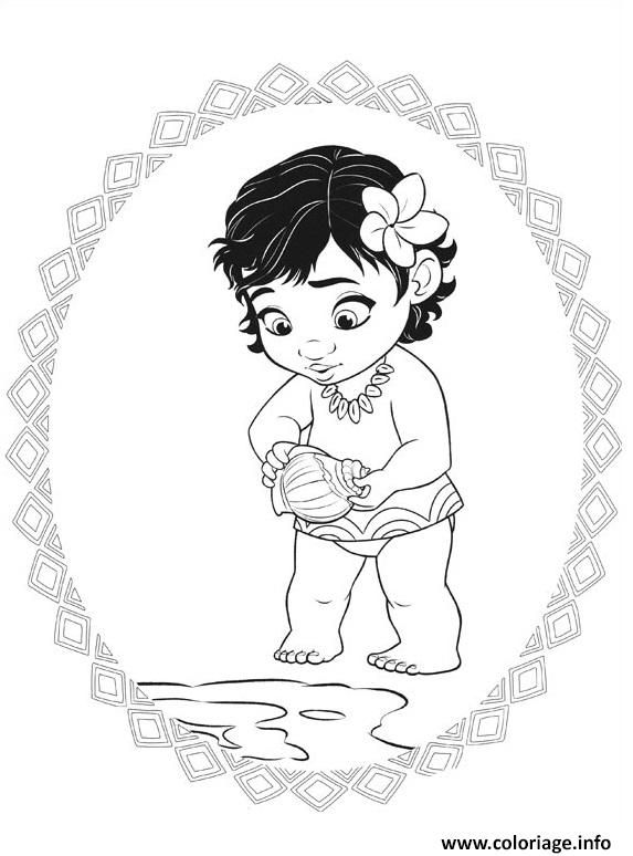 Dessin Vaiana Waialiki bebe Coloriage Gratuit à Imprimer