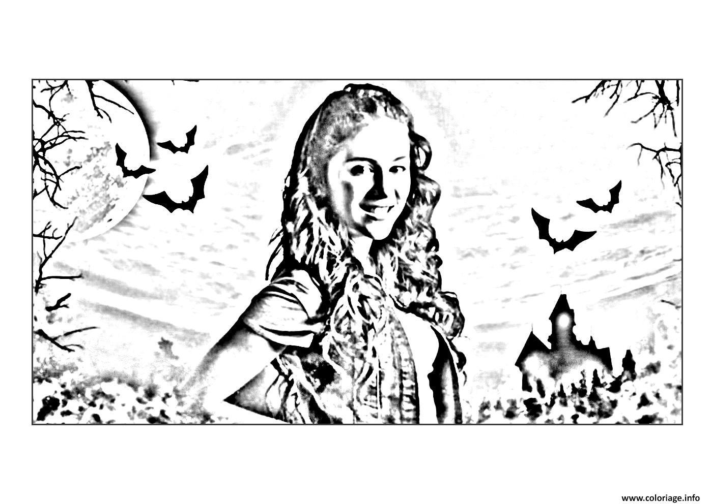 Coloriage chica vampiro daisy devant son chateau dessin - Coloriage chica vampiro ...