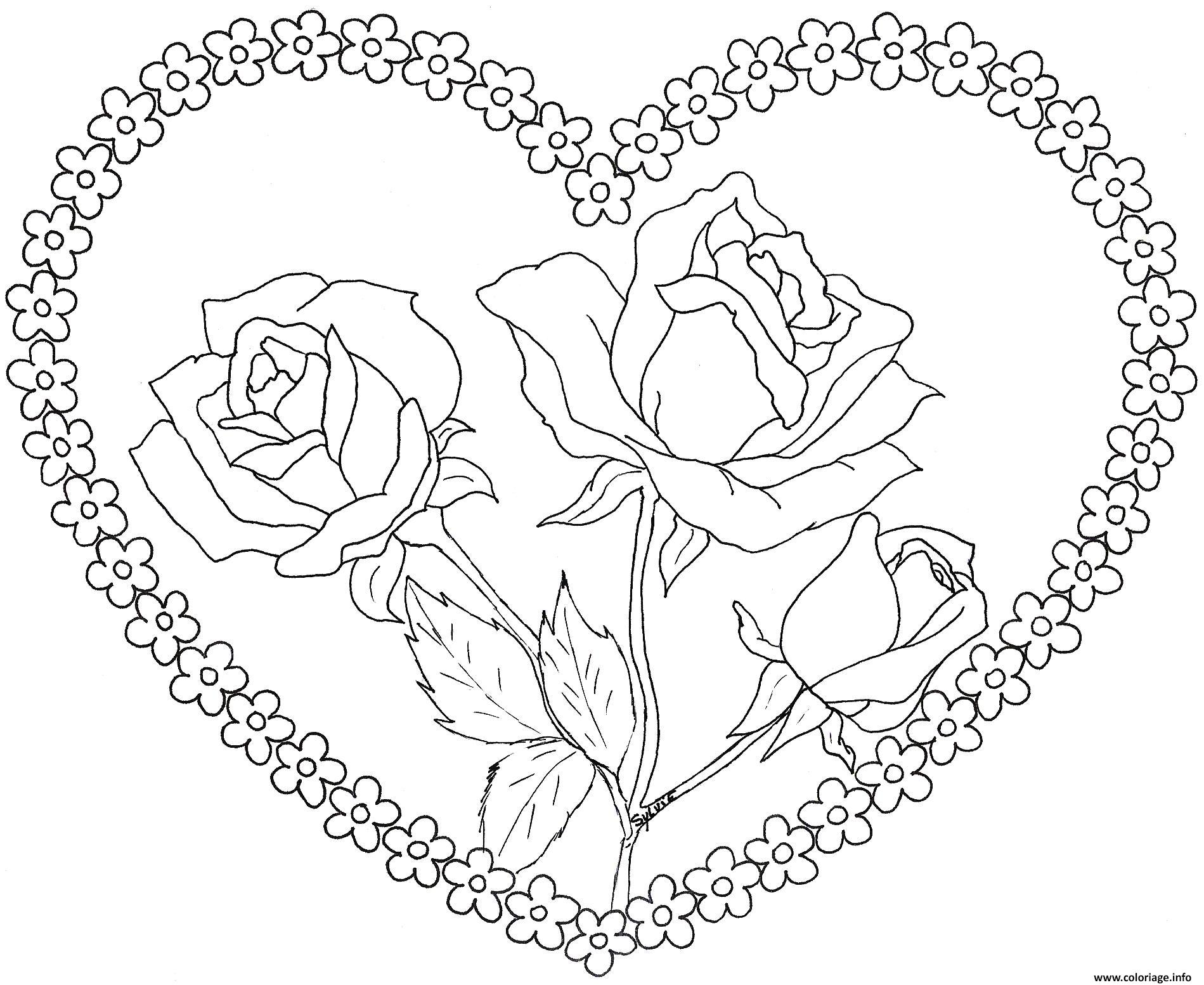 coloriage dessin coeur saint valentin avec roses dessin. Black Bedroom Furniture Sets. Home Design Ideas