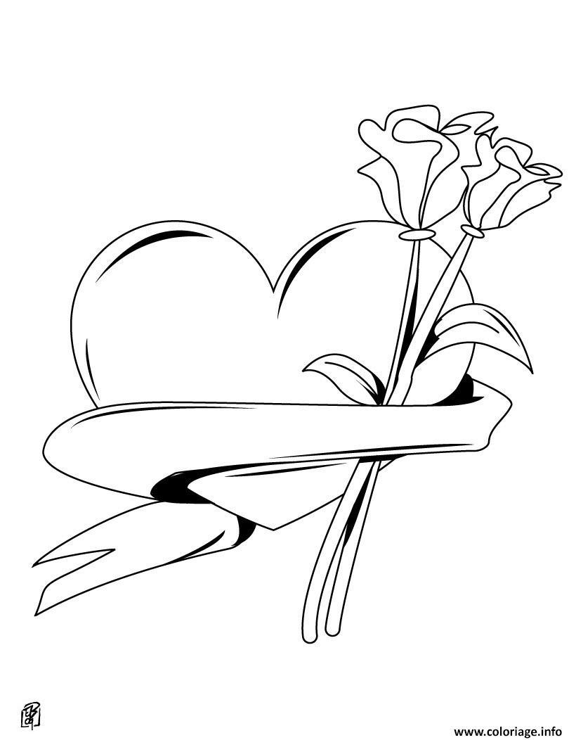 Coloriage dessin coeur saint valentin dessin - Coeur de st valentin a imprimer ...