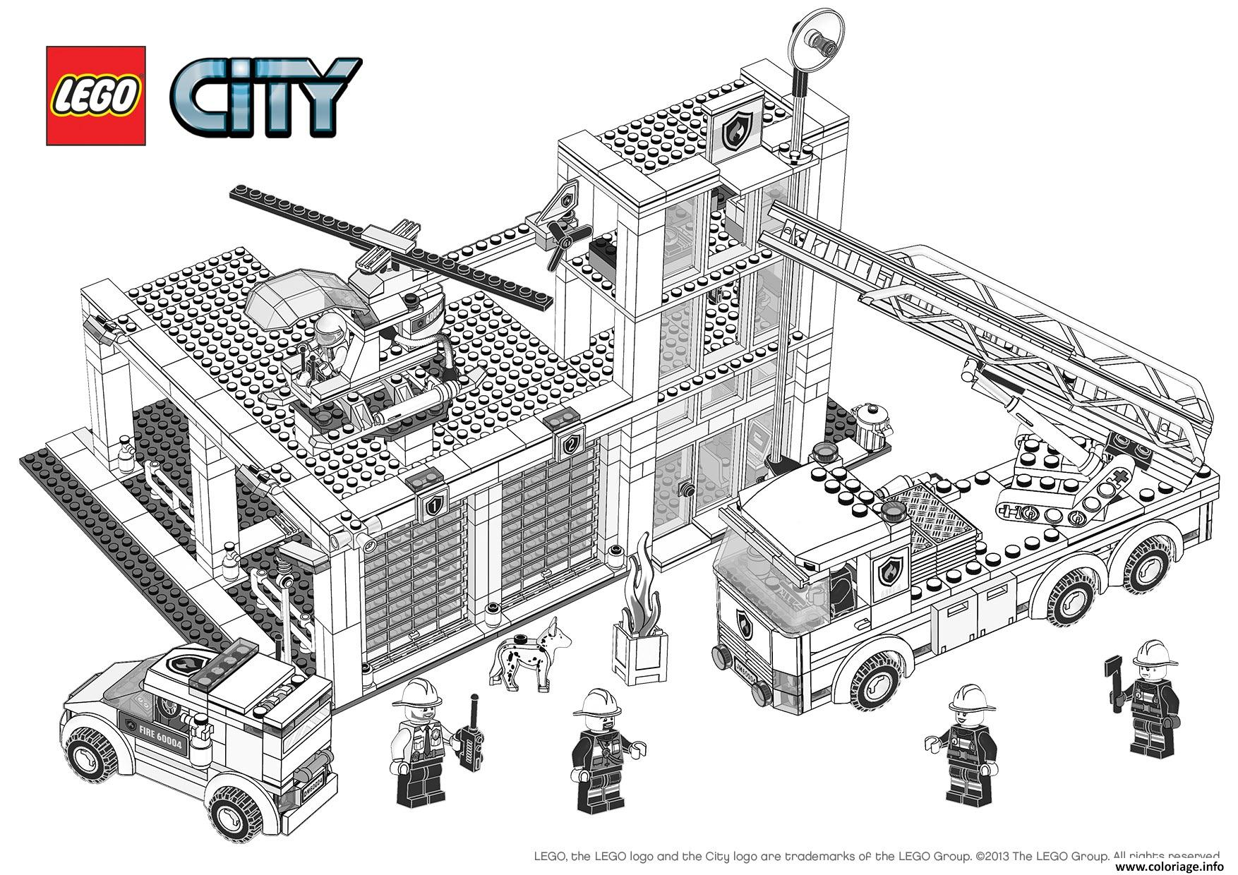 Coloriage lego city pompier
