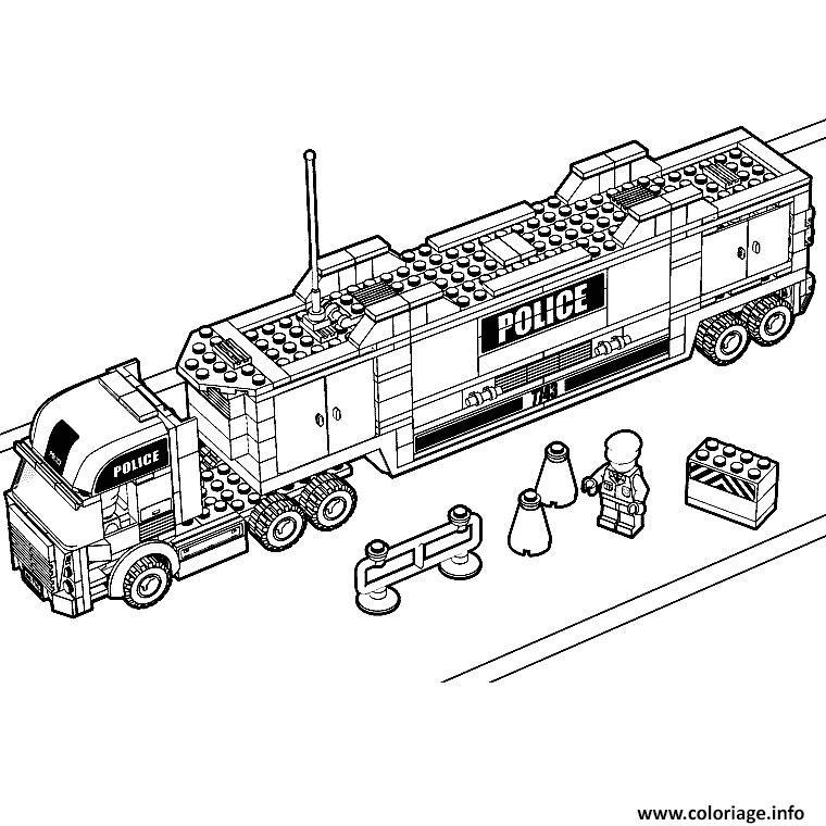 Coloriage lego city police camion - Lego city camion police ...