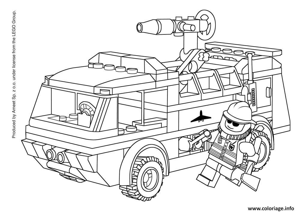 Coloriage lego city pompier avec camion de pompier dessin - Dessin pompier a imprimer ...