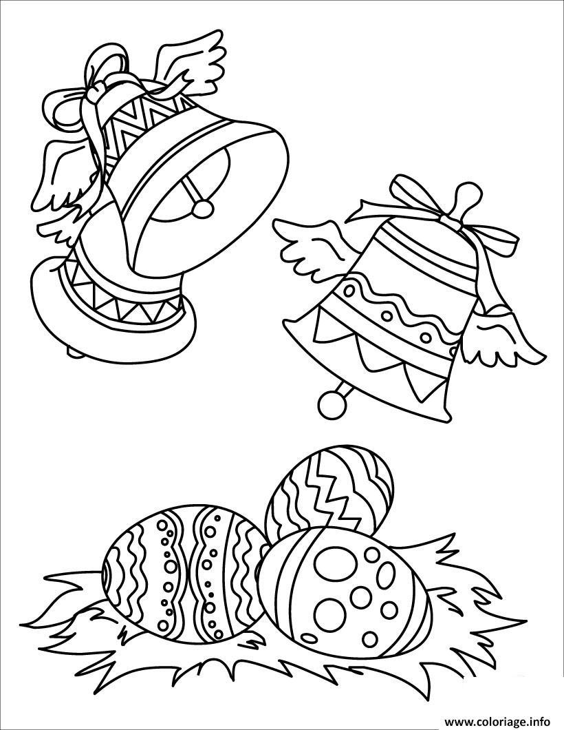 Coloriage cloches de paques avec oeuf dessin - Coloriage de paque ...