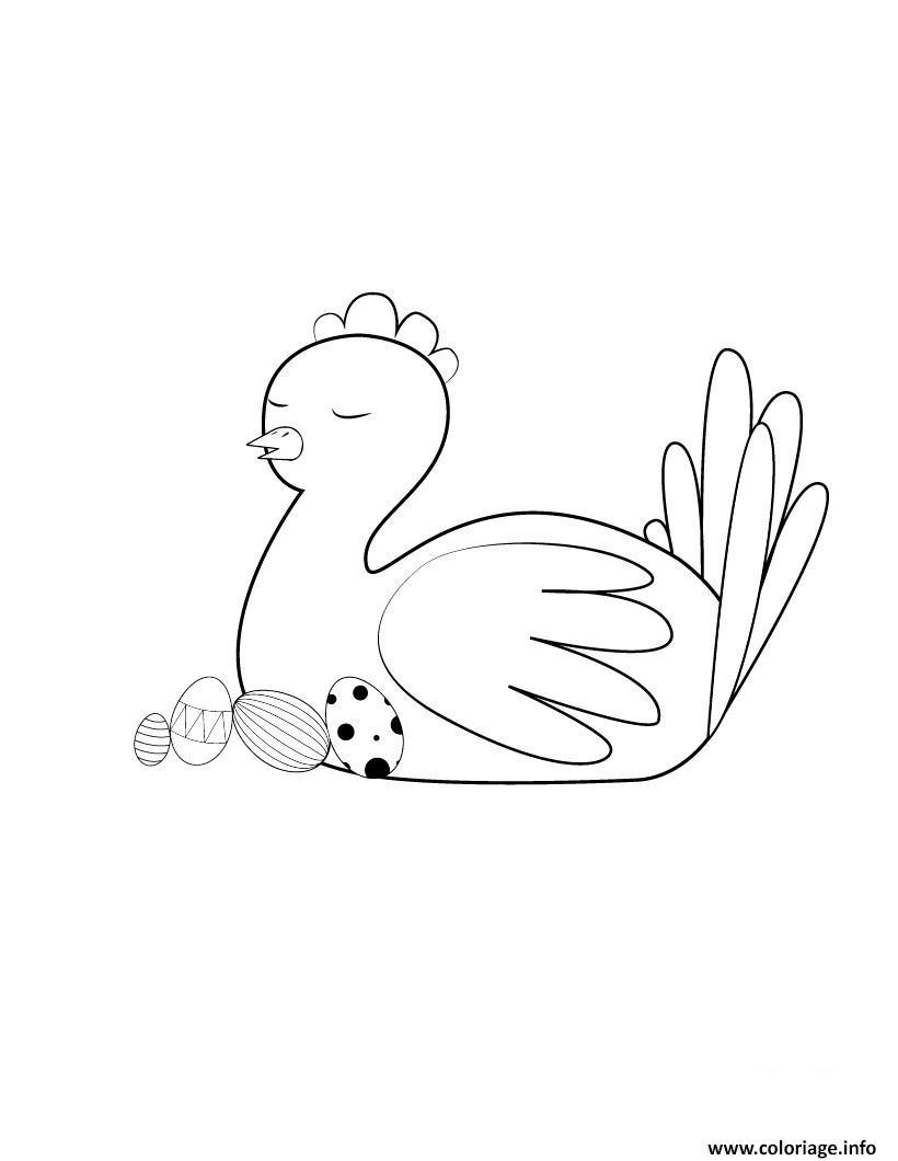 Coloriage poule de paques endormie dessin - Poule a imprimer ...