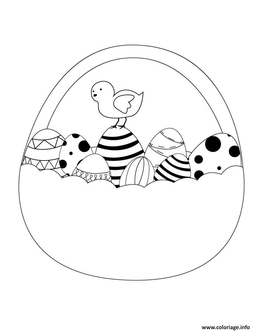 coloriage poule de paques poussin et panier oeufs dessin. Black Bedroom Furniture Sets. Home Design Ideas