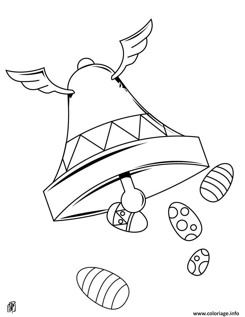 Coloriage la cloche et oeufs de paques dessin - Oeuf de paques a colorier ...