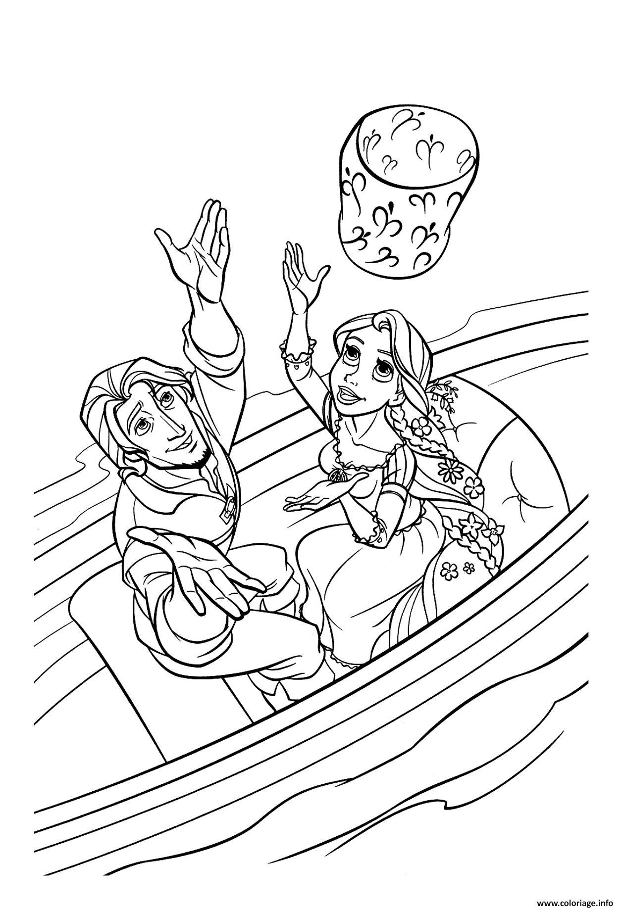 coloriage raiponce et flynn son prince dessin gratuit