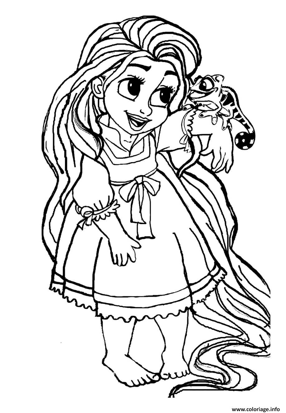 Coloriage bebe raiponce princesse disney cute dessin - Dessiner des princesses ...