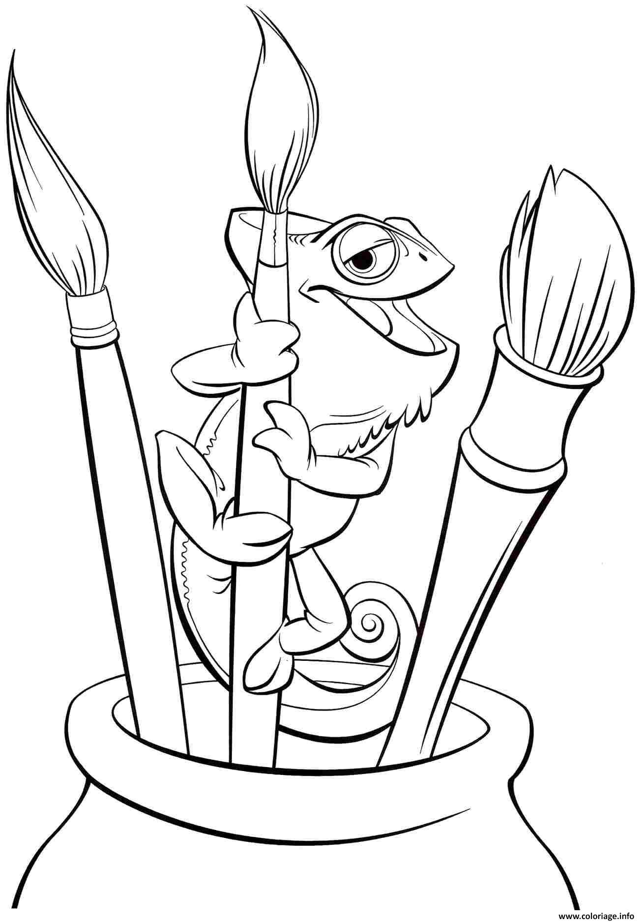 Coloriage raiponce pascal aime la peinture - Dessin raiponce ...