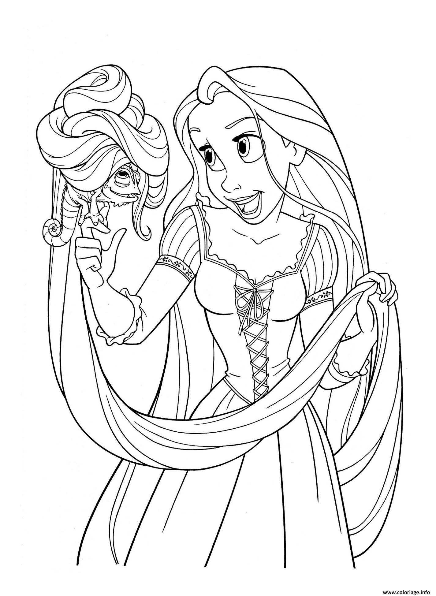 Coloriage raiponce princesse disney avec pascal dessin - Coloriages en lignes ...