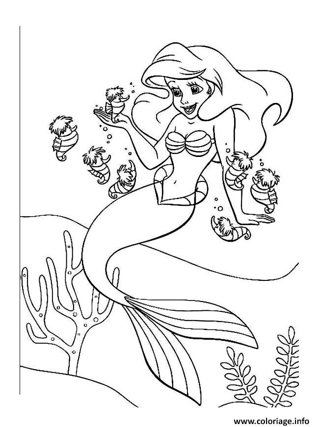 Coloriage ariel arielle petite sirene dessin - Coloriages sirenes ...