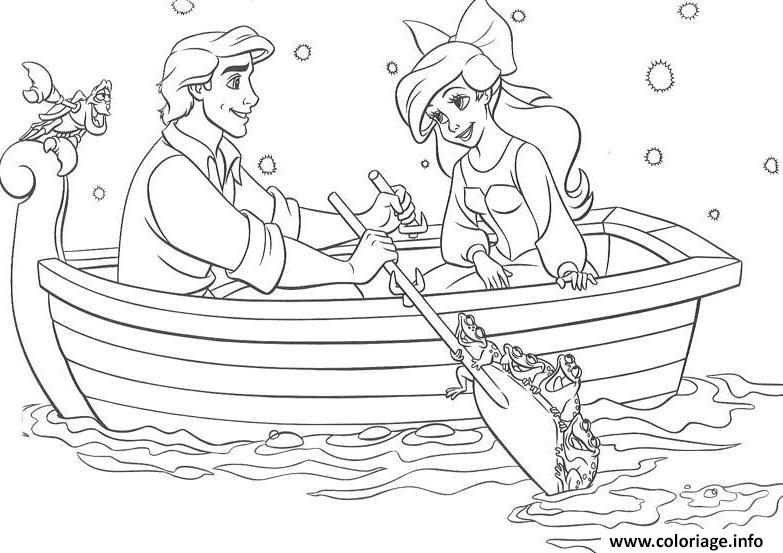 Coloriage Ariel La Petite Sirene En Barque Avec Son Prince Dessin