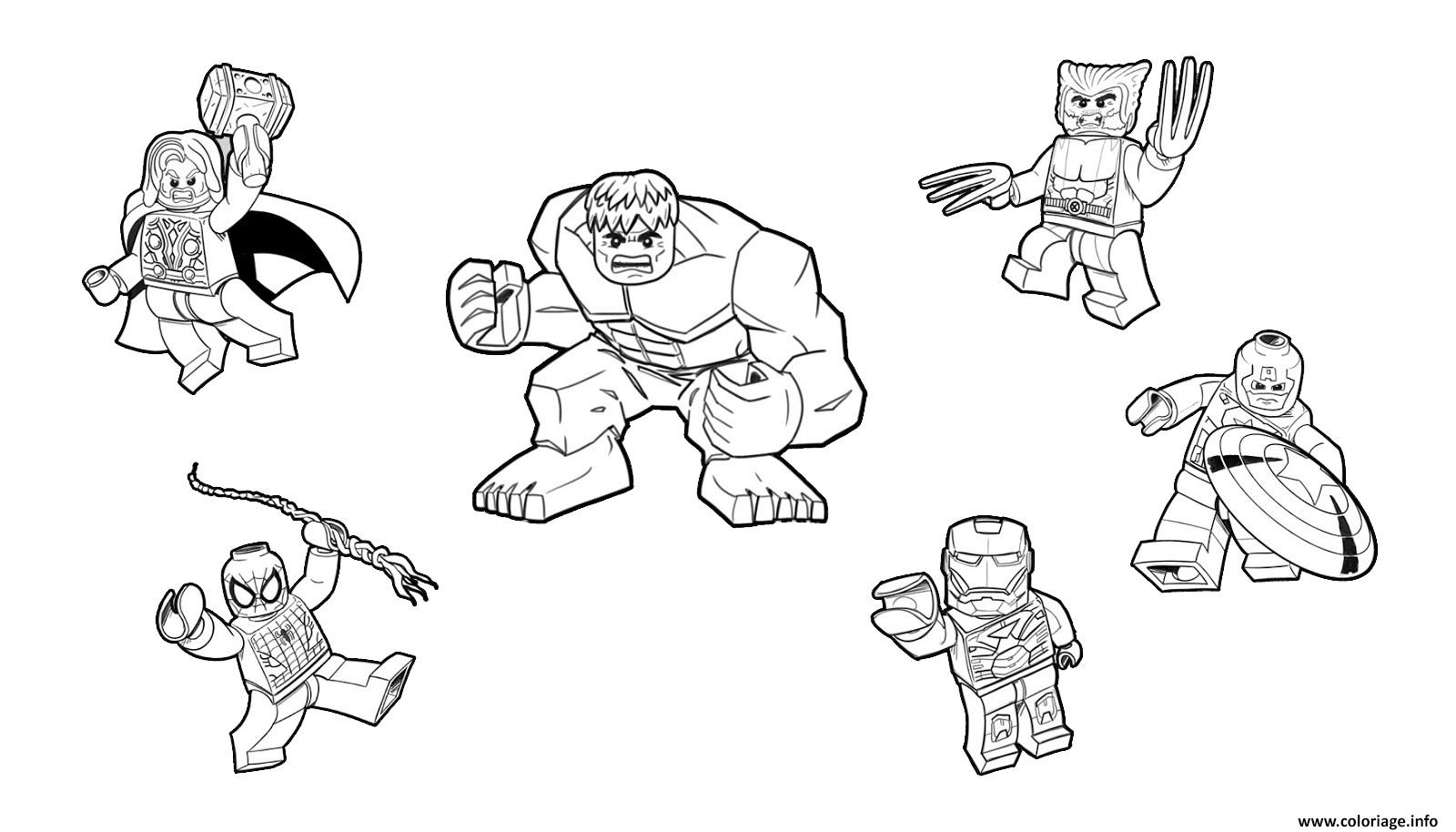 Coloriage Gratuit Lego.Coloriage Team Lego Marvel Hulk Ironman Spiderman Thor America