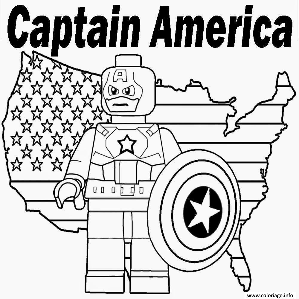 Coloriage Lego Marvel Captain America Dessin
