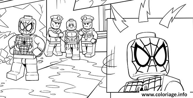 Coloriage Lego Marvel Spiderman Stpo Les Bandits Dessin