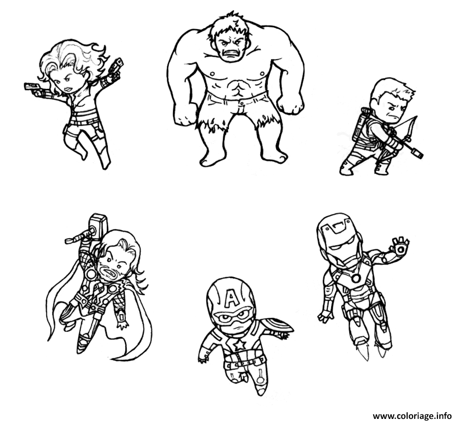 Coloriage mini avengers marvel dessin - Superhero dessin ...
