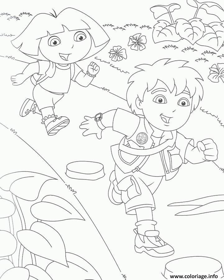 Coloriage courir avec diego et dora dessin - Jeux de go diego ...
