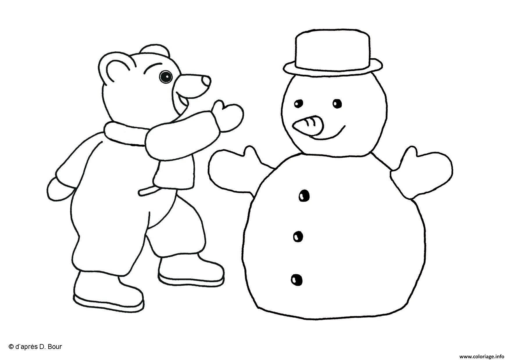 Dessin Petit Ours Brun fait un bonhomme de neige page 001 Coloriage Gratuit à Imprimer