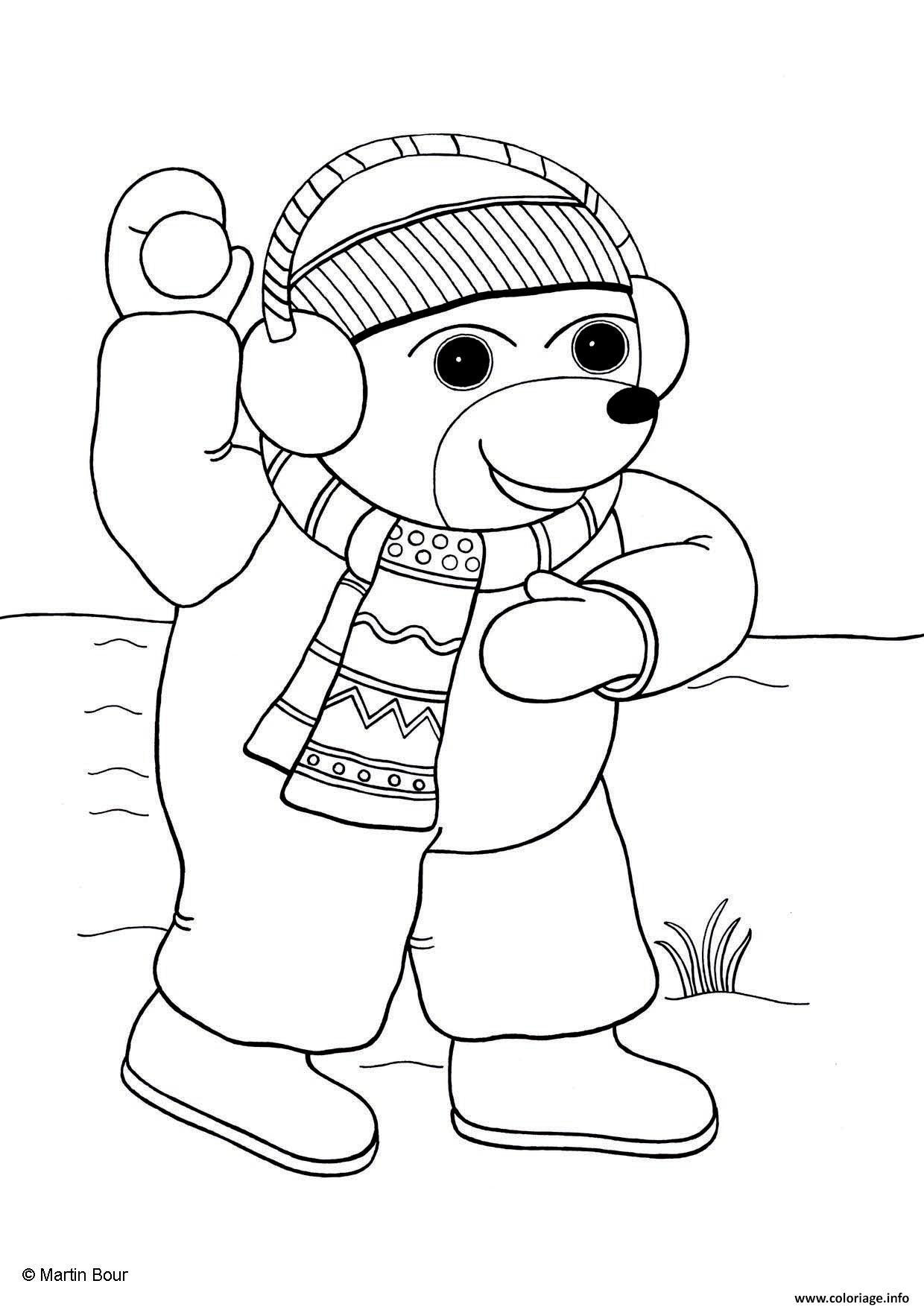Dessin Petit Ours lance une boule de neige page 001 Coloriage Gratuit à Imprimer