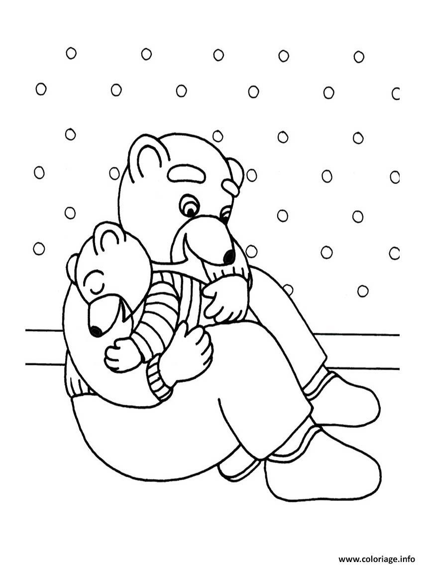 Dessin Petit Ours Brun fait dodo avec papa Coloriage Gratuit à Imprimer