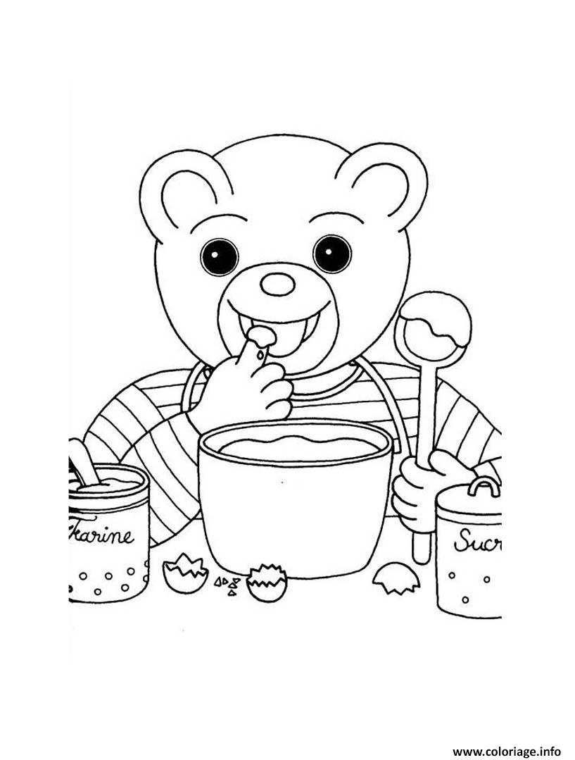 Dessin Petit Ours Brun cuisine un gateau Coloriage Gratuit à Imprimer