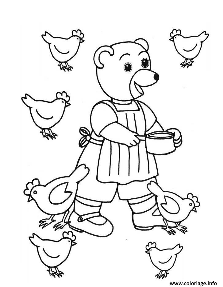 Dessin Petit Ours Brun donne a manger aux poules Coloriage Gratuit à Imprimer