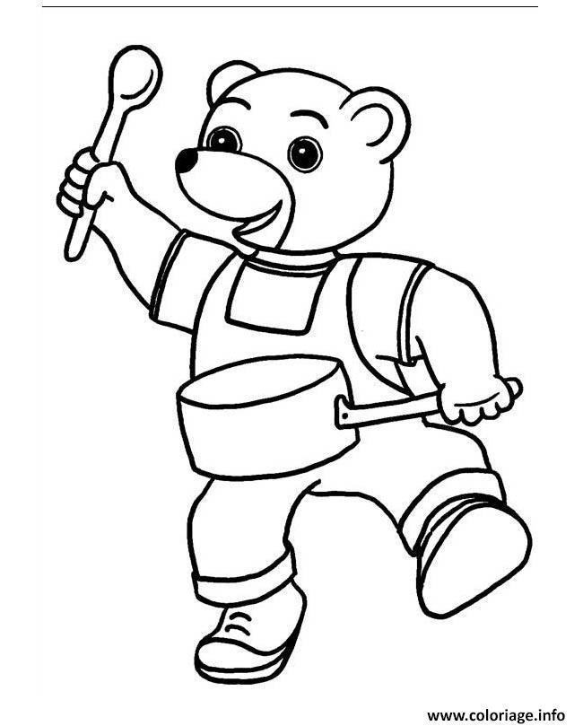 Coloriage petit ours brun joue au tamtam - Coloriage de ours ...