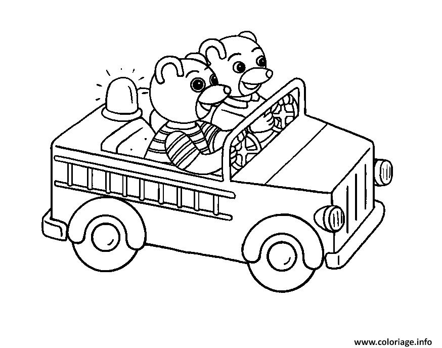 Dessin Petit Ours Brun joue les pompiers dans une voiture Coloriage Gratuit à Imprimer