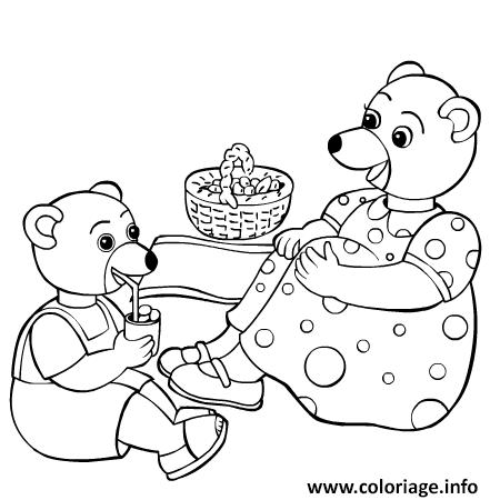 Dessin Petit Ours Brun mange avec sa maman Coloriage Gratuit à Imprimer