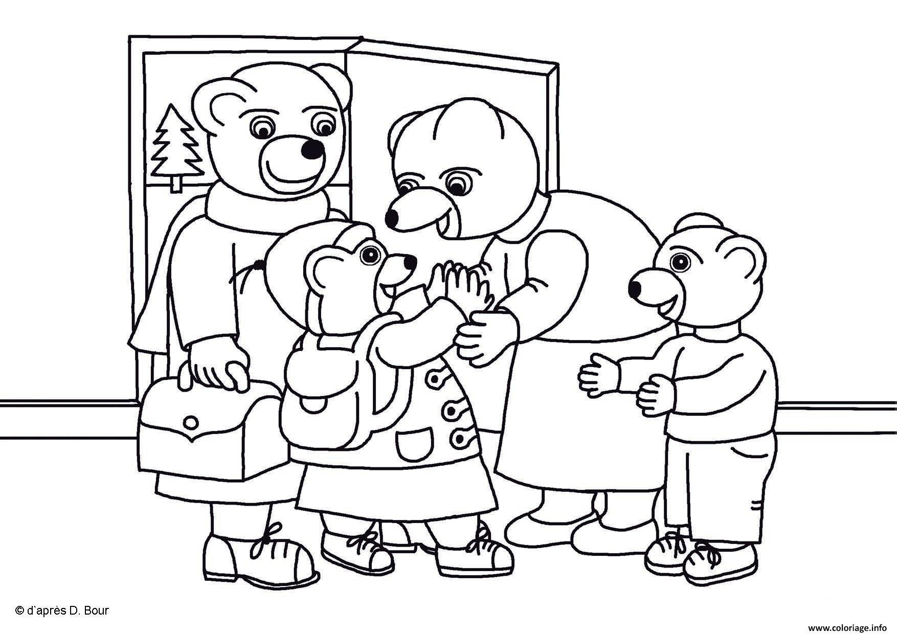 Coloriage Famille Ours.Coloriage Petit Ours Brun Passe Lhiver En Famille Page 001