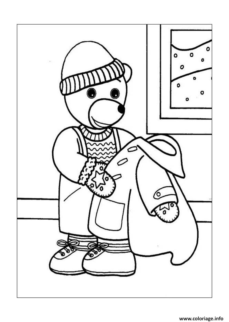 Dessin Petit Ours Brun retire son manteau dhiver Coloriage Gratuit à Imprimer