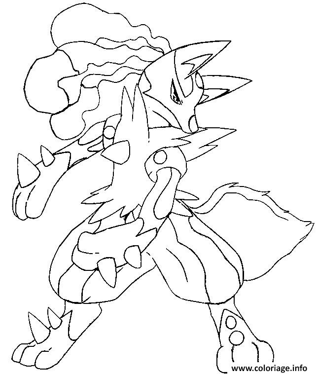 pokemon mega evolution lucario 448 coloriage dessin