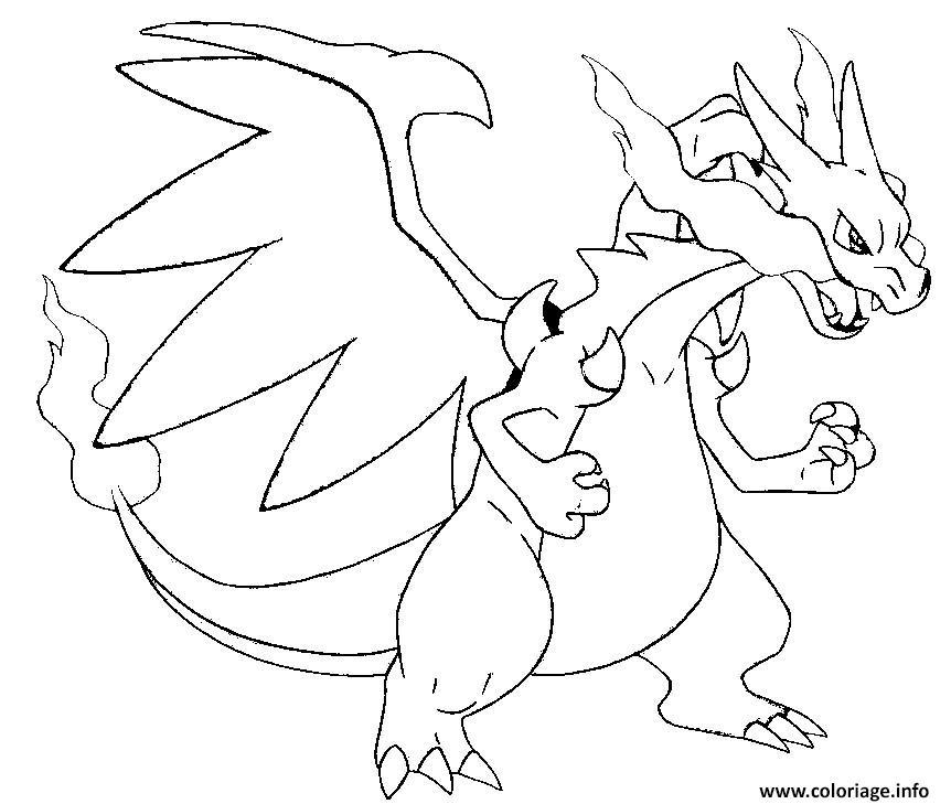 Coloriage Pokemon Mega Evolution X Dracaufeu 6 Jecolorie Com