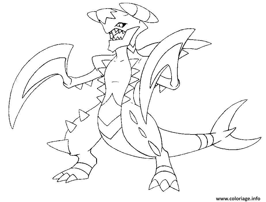 coloriage pokemon mega evolution carchacrok dessin gratuit
