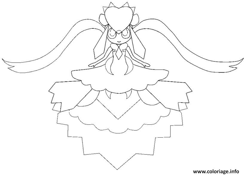 pokemon mega evolution diancie 719 coloriage dessin