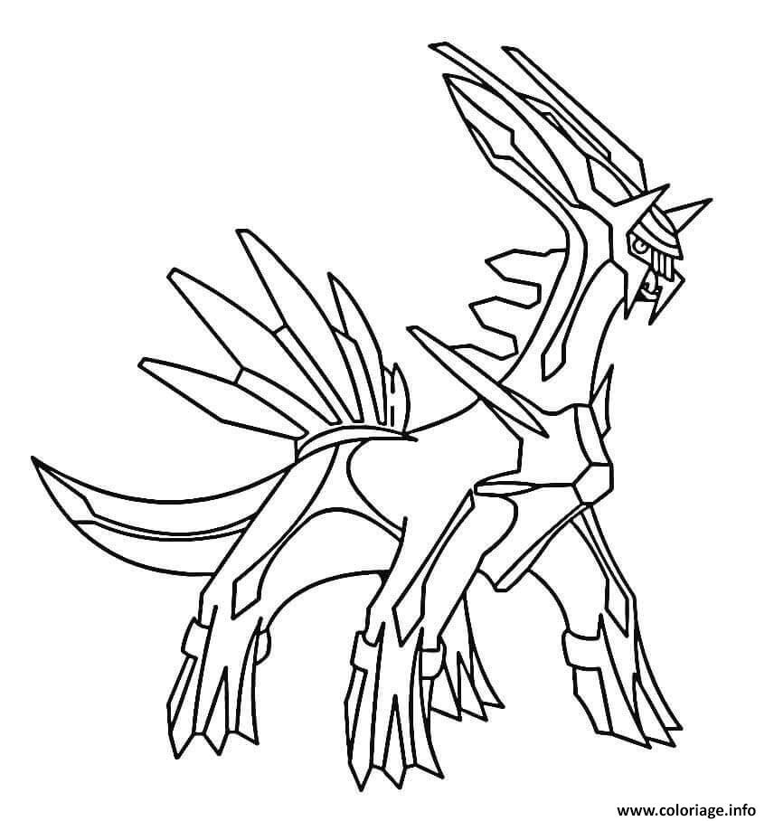 Coloriage Dialga Pokemon Legendaire Dessin