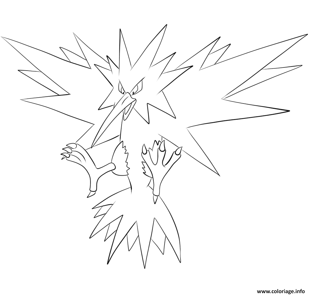 Coloriage electhor pokemon legendaire dessin - Coloriage pokemon legendaire a imprimer ...