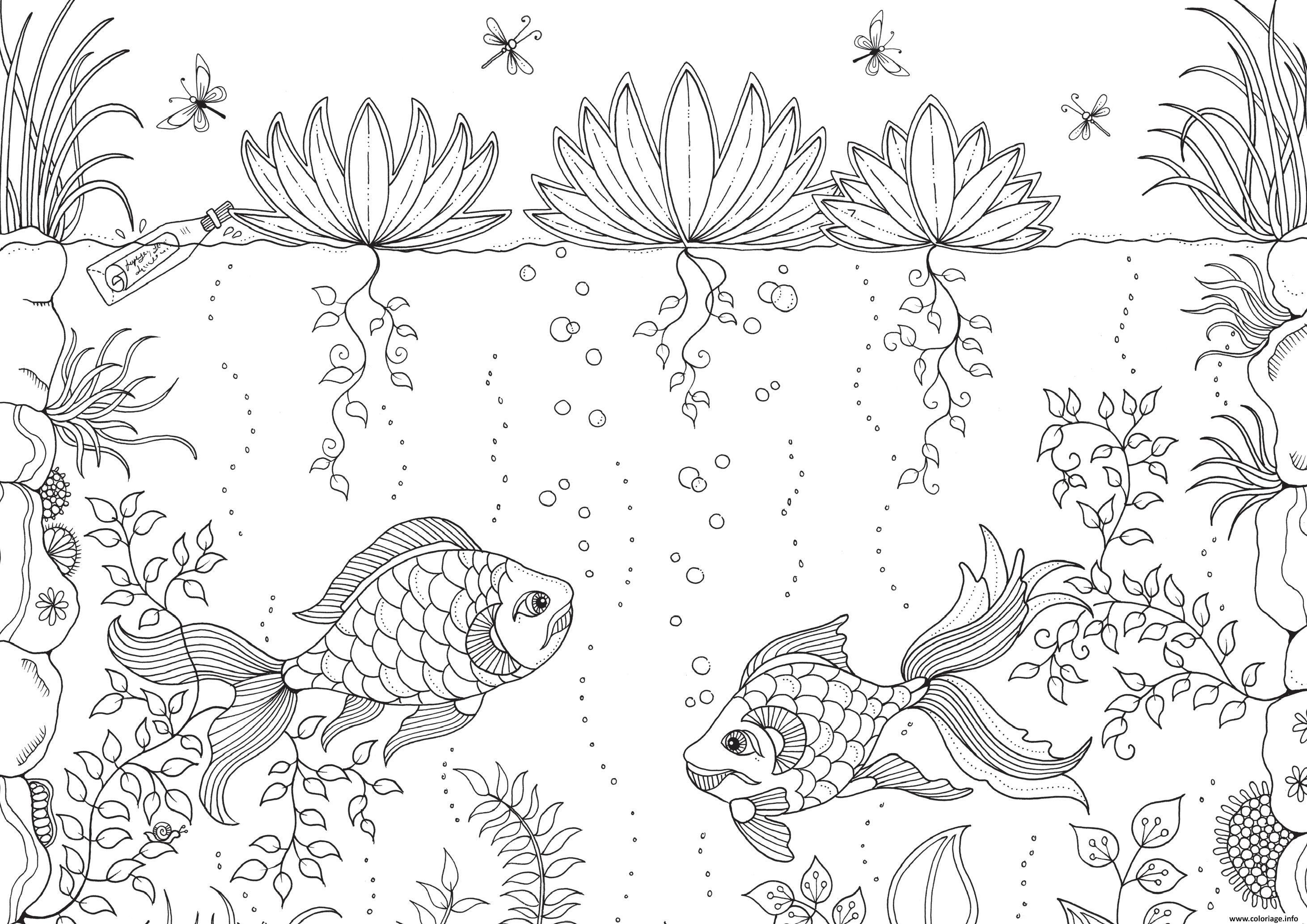 Coloriage Adulte Zen A Imprimer Gratuit.Coloriage Ocean Poissons Adulte Zen Anti Stress Dessin