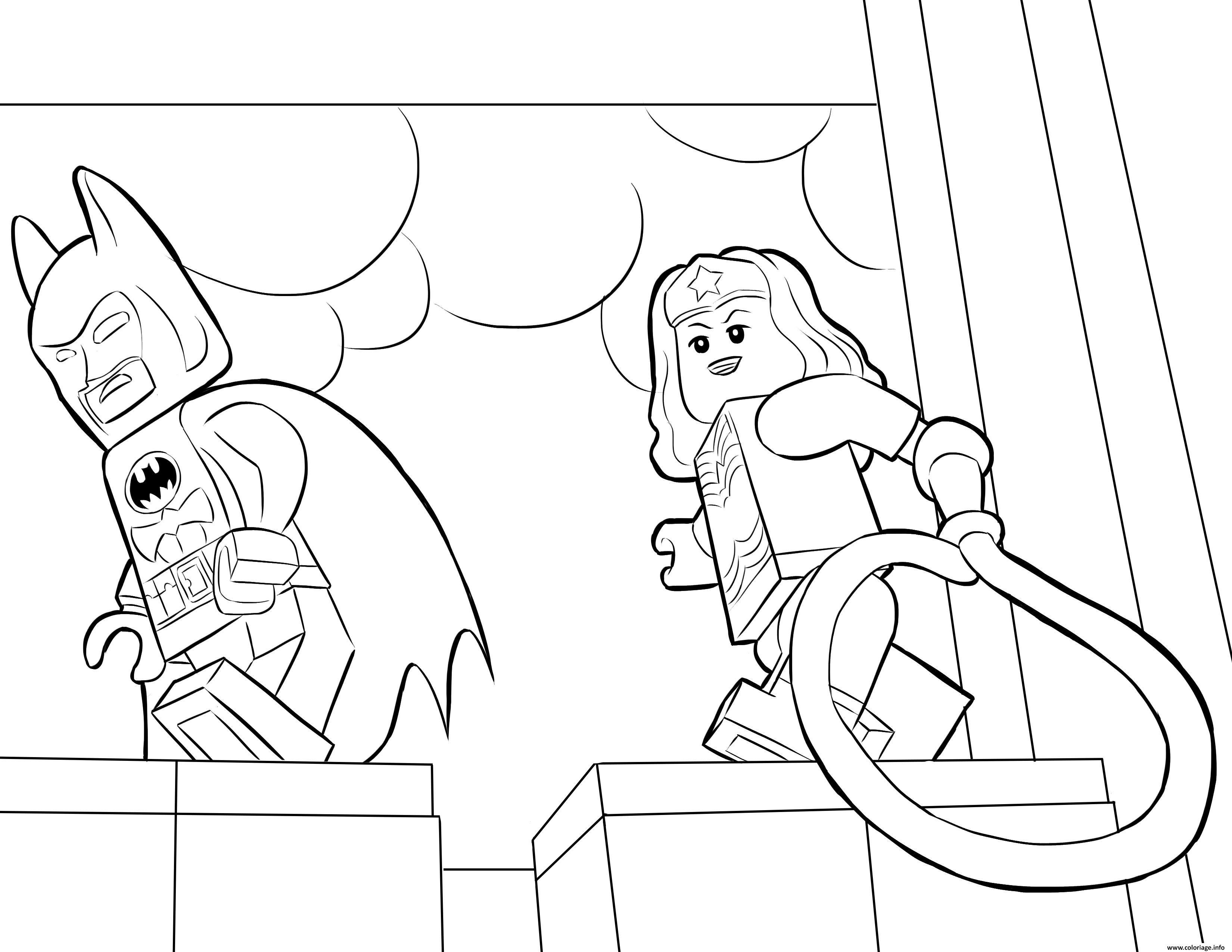 Dessin lego batman avec wonder woman Coloriage Gratuit à Imprimer