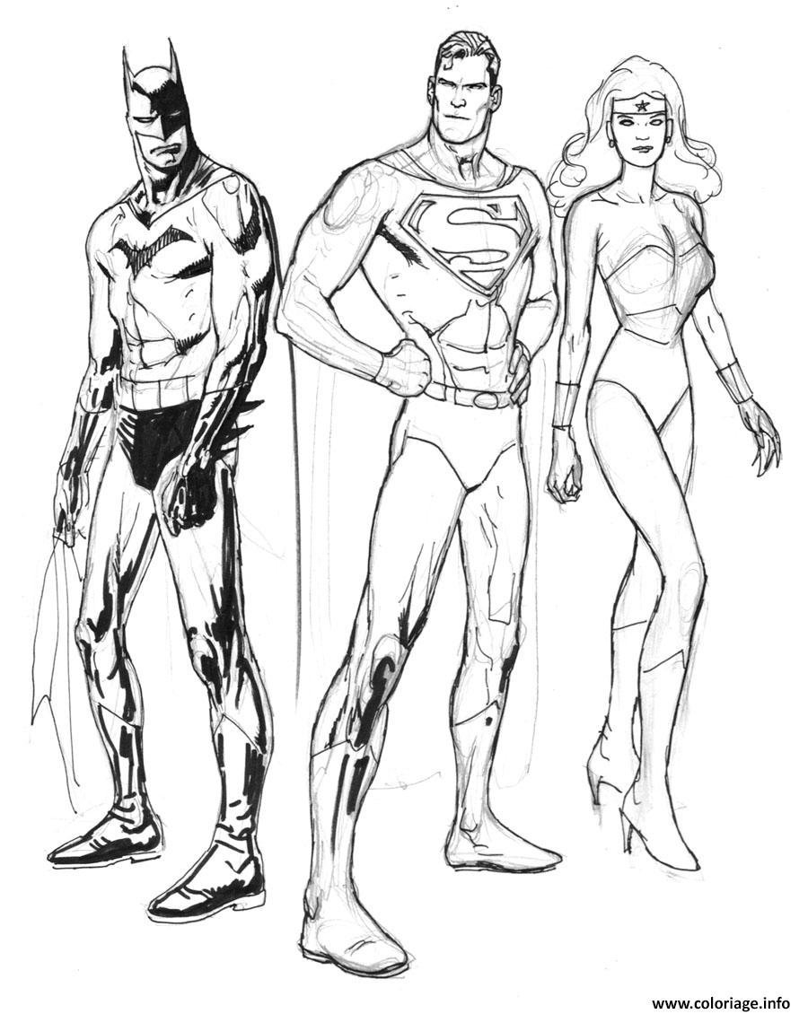 Coloriage Batman Et Superman A Imprimer.Coloriage Batman Superman Wonder Woman Jecolorie Com